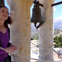 On the bell tower at Amari village. At the back mount Psiloritis.