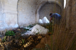 Panagiotis Voulgaris working on his installation